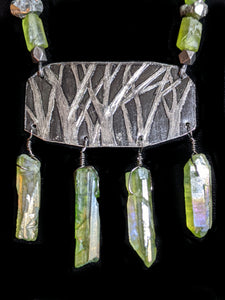 Nickel Silver Trees & Peridot Necklace