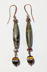 Jasper & Tiger Eye Earrings - Sunroot Studio