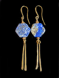 Lapis & Brass Earrings - Sunroot Studio