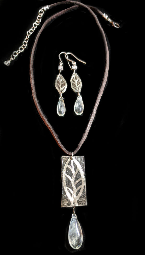 Nickel Silver Leaf Pendant Set - Sunroot Studio