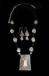 Nickel Silver Tree & Prehnite Set - Sunroot Studio