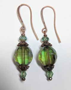 Olive Czech Glass Earrings - Sunroot Studio