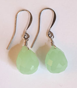 Pale Green Glass Earrings - Sunroot Studio
