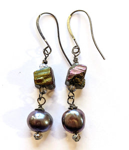 Pearl & Pyrite Earrings - Sunroot Studio