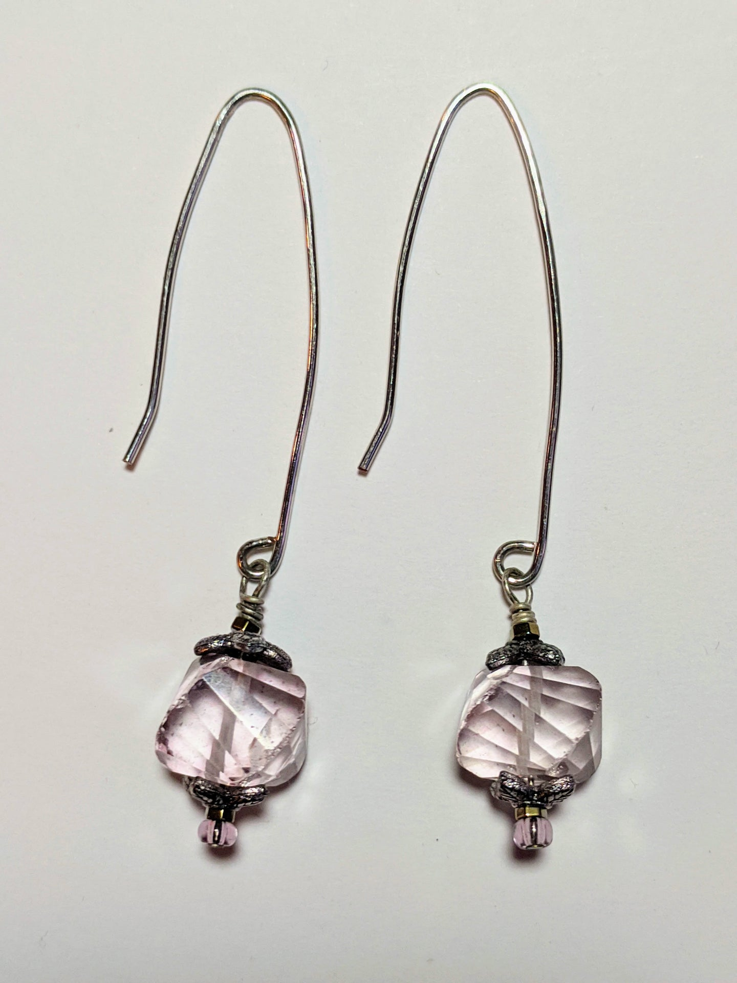 pink amethyst earrings (long) - sunroot studio