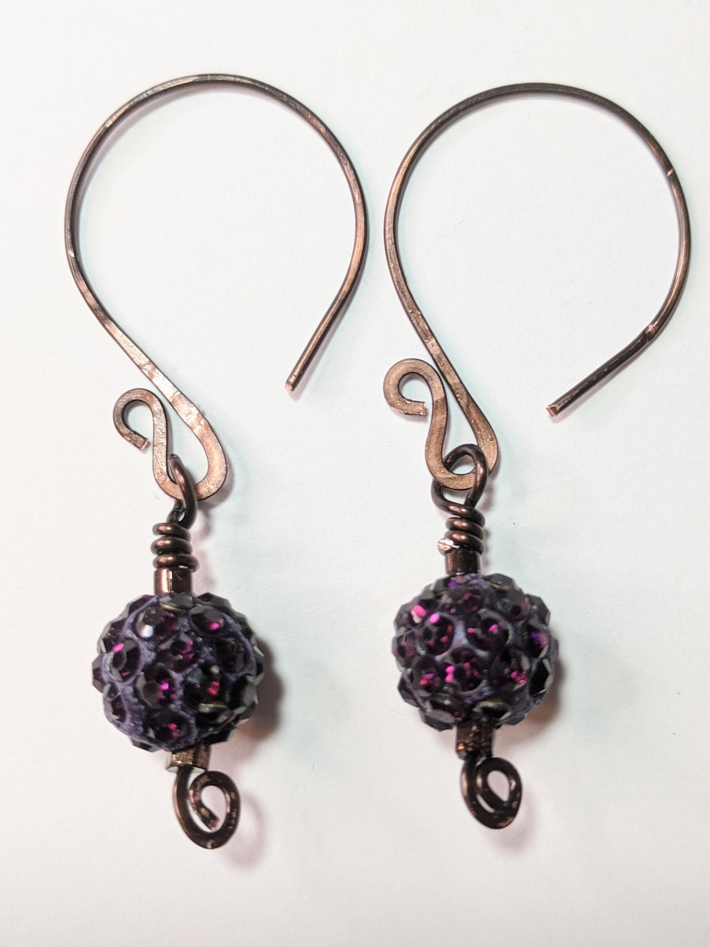 purple crystal shamballa earrings - sunroot studio