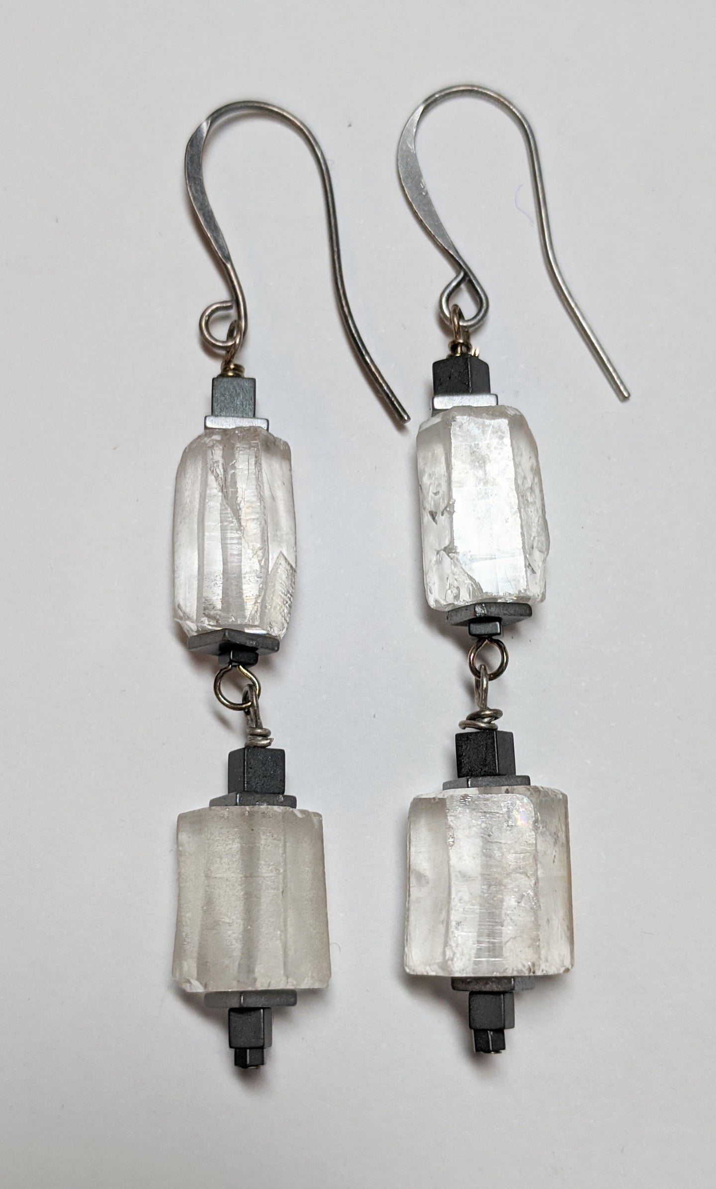 quartz & hematite earrings - sunroot studio
