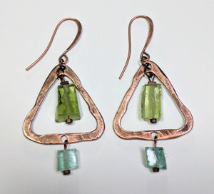 Roman Glass Triangle Earrings - Sunroot Studio