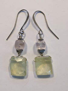 Rose Quartz & Prehnite Earrings - Sunroot Studio