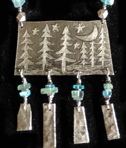 Nickel Silver Moon & Pines Landscape Set - Sunroot Studio