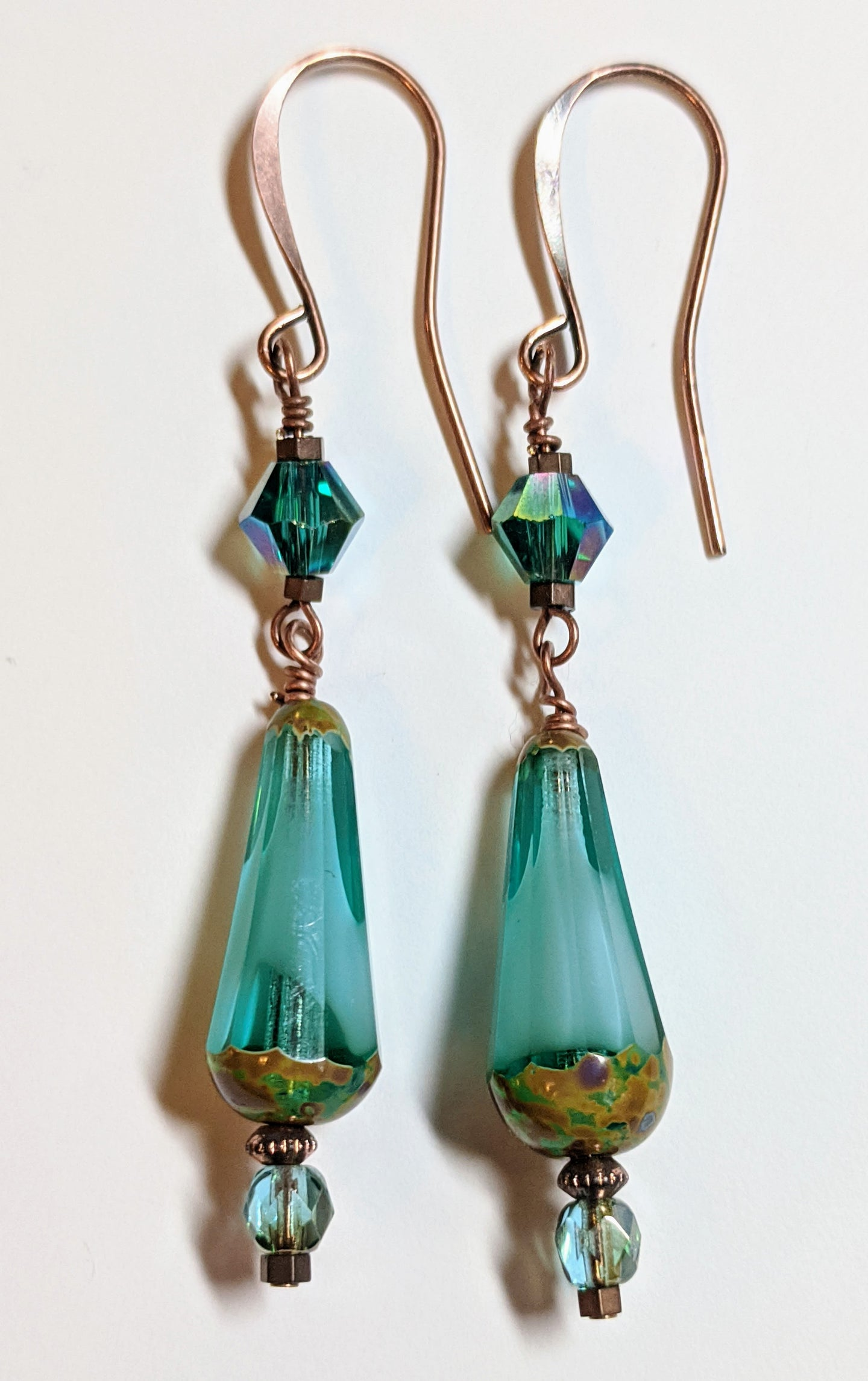 tear drop czech glass earrings - sunroot studio
