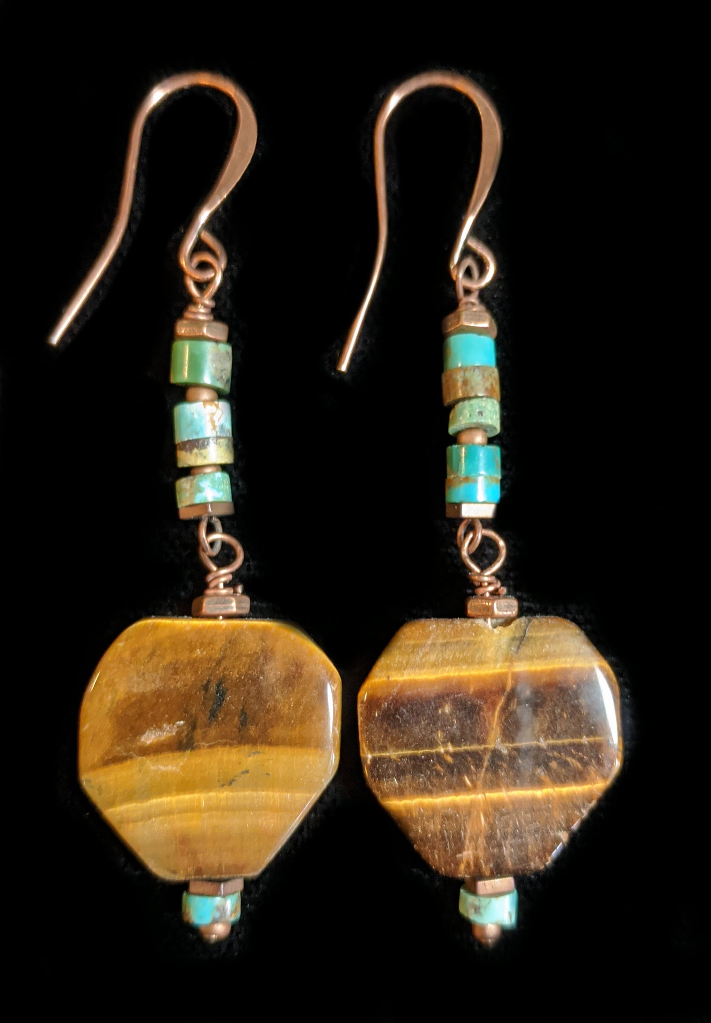tiger eye & turquoise earrings