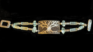 Nickel Silver Tree & Fluorite Bracelet - Sunroot Studio