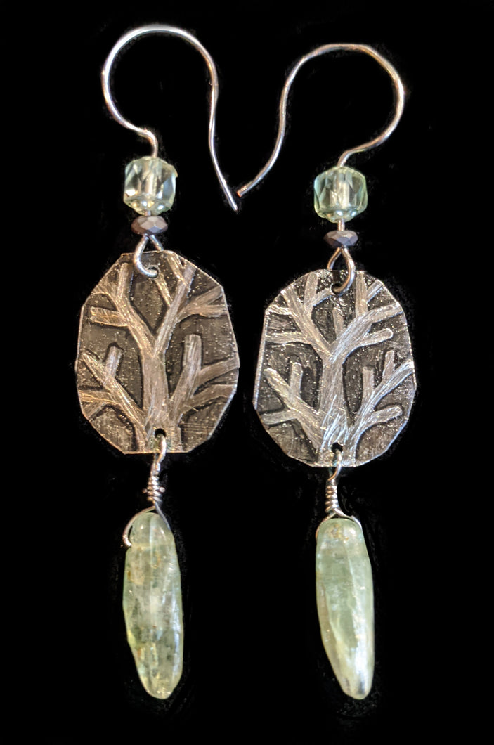 Tree & Kyanite Earrings - Sunroot Studio