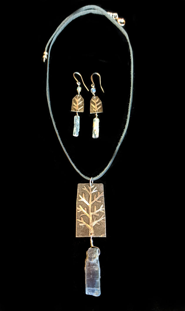 Tree & Kyanite Pendant Set - Sunroot Studio