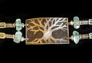Nickel Silver Tree & Fluorite Bracelet