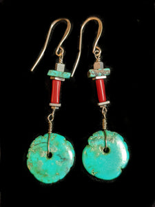 Tribal Turquoise & Coral Earrings