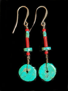 Turquoise & Coral Earrings - Sunroot Studio