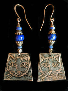 Cat & Lapis Earrings - Sunroot Studio