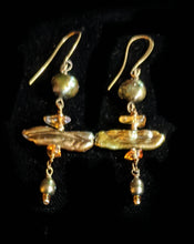 brass oak leaf & pearl set - sunroot studio