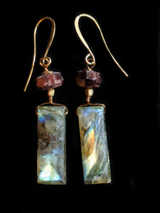Faceted Labradorite & Garnet Earrings
