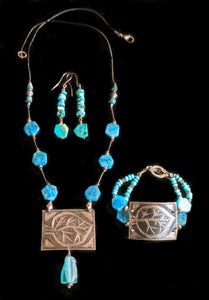 Art and Metal Jewelry - Copper Leaf & Apatite Necklace Set - Sunroot Studio