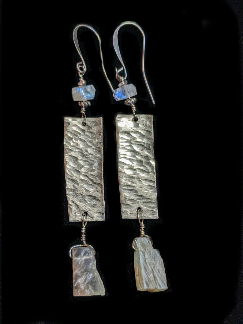 Nickel Silver & Moonstone Earrings - Sunroot Studio