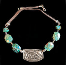 nickel silver leaf & chrysocolla set