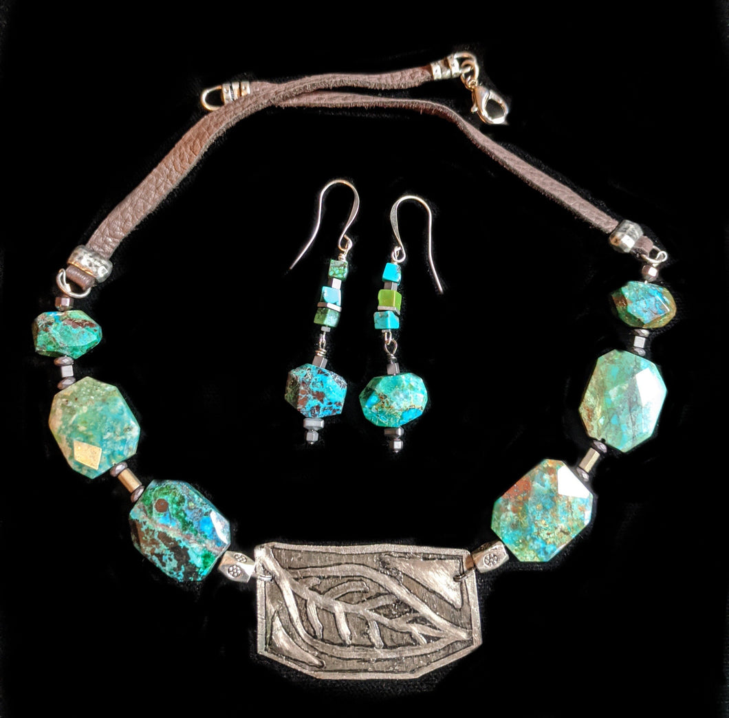 Art and Metal Jewelry - Nickel Silver Leaf & Chrysocolla Set - Sunroot Studio
