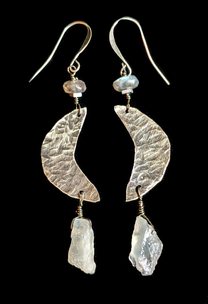 Nickel Silver Moon & Labradorite Earrings - Sunroot Studio