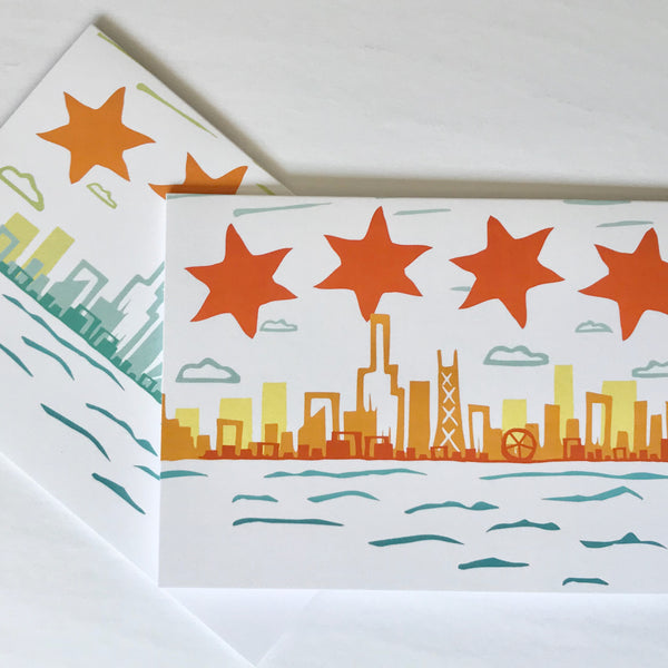 Judy Lynn - Set/8 Chicago Skyline Notecards