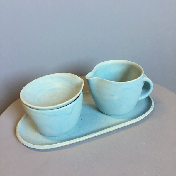 Lynne Tan Porcelain Creamer & Sugar on Tray