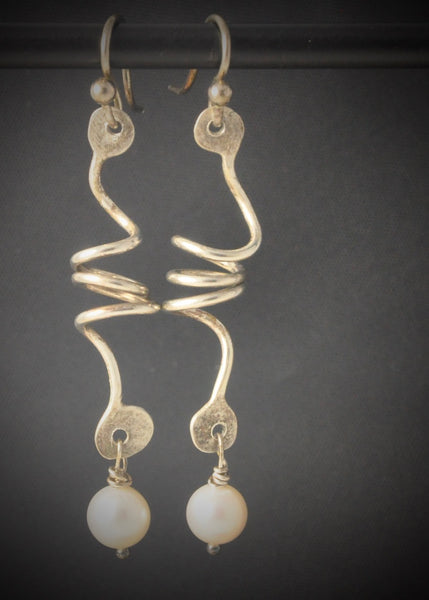 Lily Pai - Earrings - Sterling & Pearl Twirl Drop