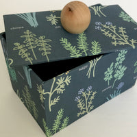 Judy Lynn - Paper Box with Herb Design in Blue - Large