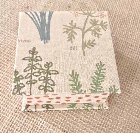 Paper Box with Herb Design and Orange Polkadots- Small
