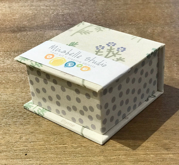 Paper Box with Herb Design and Gray Polka Dots - Small