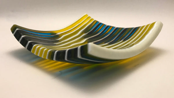 Glass Yellow & Blue Patterned Dish by Caryn Brown