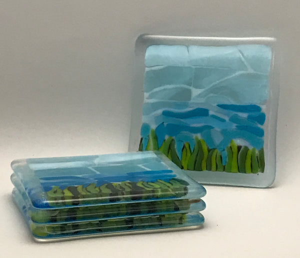 Glass Coasters - Dune Grass by Caryn Brown