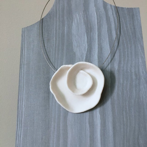 Lynne Tan - Porcelain Necklace Wire Abstract Rose - Ivory