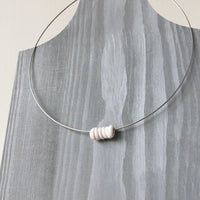 Lynne Tan - Porcelain Wire Minimal Necklace Coil in Ivory