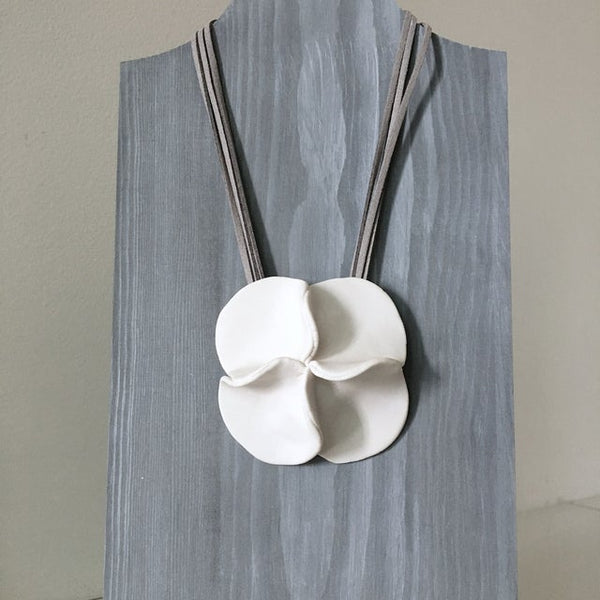 Lynne Tan - Porcelain Necklace - Four Square Flower in Ivory