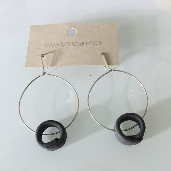 Lynne Tan - Porcelain Earrings Circle on Circle in Charcoal Gray