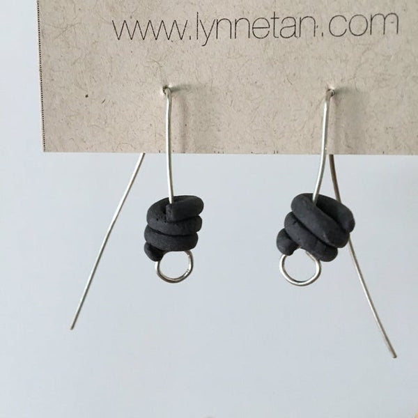 Lynne Tan - Porcelain Earrings Coil Tail in Charcoal