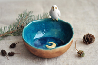 Bowl with Owl and a Crescent Moon