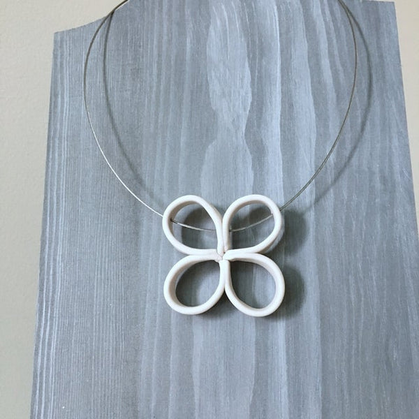 Lynne Tan - Porcelain Wire Necklace Loop Petal in Ivory