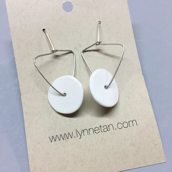 Lynne Tan - Porcelain Earrings Disc with Triangle Stem in Ivory