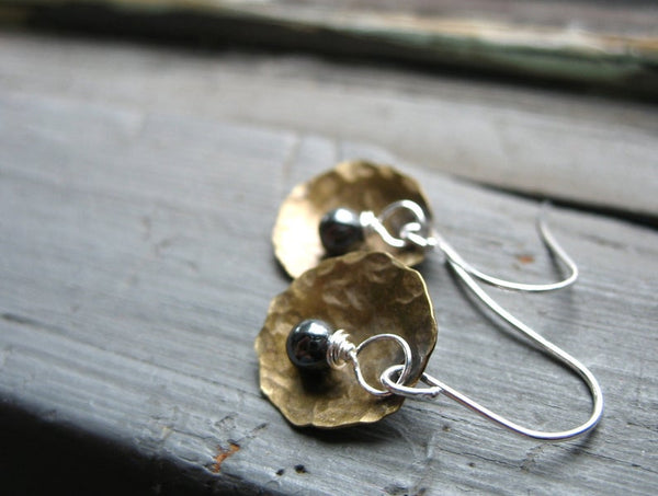 Hammered Antiqued Brass with Hematite Pearl Earrngs