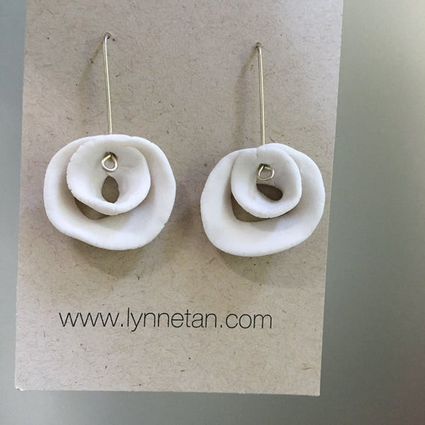 Lynne Tan - Porcelain Earrings Spiralled Rose in Ivory