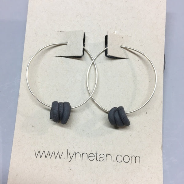 Lynne Tan - Porcelain Earrings Coil Hoop in Charcoal
