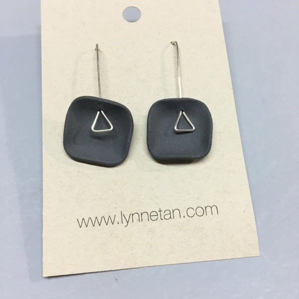 Lynne Tan - Porcelain Earrings Square with Triangle Stem in Charcoal